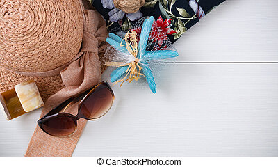 Summer vacation background with accessories