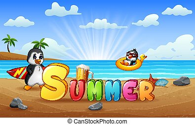 Summer vacation background with penguins on the beach