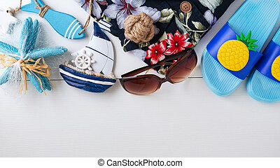 Summer vacation background with summer accessories