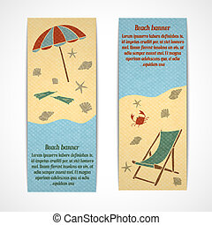 Summer vacation banners vertical - A set of retro vertical...