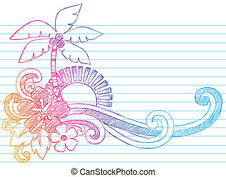 Summer Vacation Beach Doodle - Summer Hibiscus and Palm Tree...
