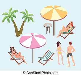 Summer vacation, beach resort. Women and a man resting on the beach. Beach umbrellas, deck chairs, palm trees. Vector illustration.