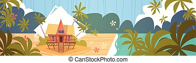 Summer Vacation Bungalow House On Sea Beach Landscape Beautiful Seascape Banner Seaside Holiday
