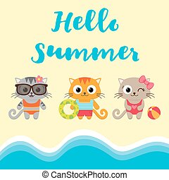 Summer vacation card with kittens