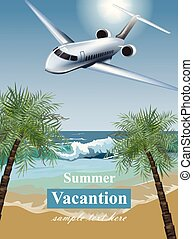 Summer Vacation card with tropic beach and a plane Vector. Travel card exotic destination template banners