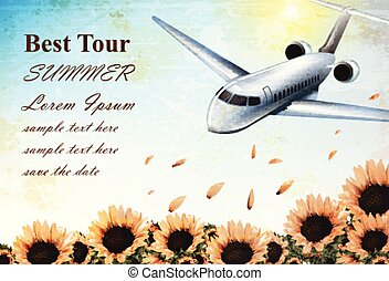 Summer Vacation card with tropic plane flying over sunflowers field Vector. Travel card exotic destination template banners