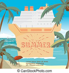 Summer vacation concept background with space for text. Sea landscape summer beach, palms, cruise ship. Vector cartoon flat illustration. Beach, sea, umbrella and a cruise liner