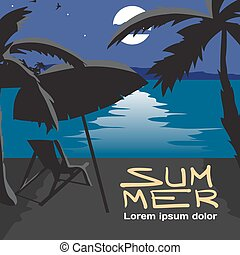 Summer vacation concept background with space for text. Vector cartoon flat illustration. Summer beach landscape at night. Silhouettes of palm trees, umbrella, chaise in moonlight. Lunar path on water