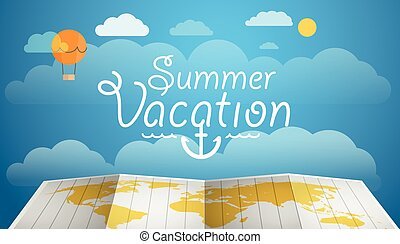 Summer vacation concept. Flat design illustration