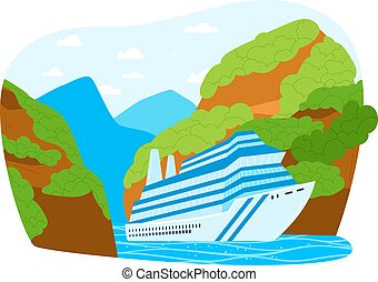 Summer vacation cruise, luxury liner travel, sea trip, large modern ship, cartoon style vector illustration, isolated on white.