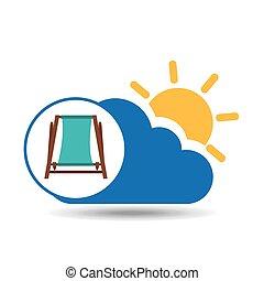 summer vacation design beach chair icon