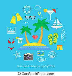 Summer vacation colorful flat vector icons set