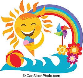 summer vacation; happy sun holding ice cream, illustration