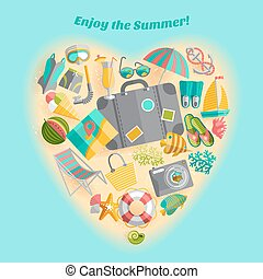 Summer vacation heart composition icon poster - Enjoy the...