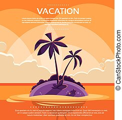Summer Vacation Holiday Tropical Sunset Ocean Island