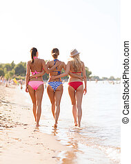 group of young women on beach