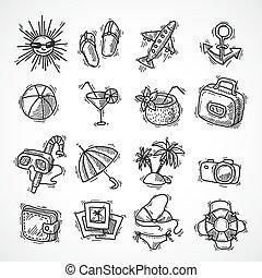Summer vacation icon set