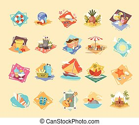 Summer Vacation Icon Set Seaside Holiday Collection