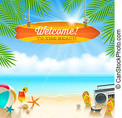 Summer vacation illustration - Beach things and old...