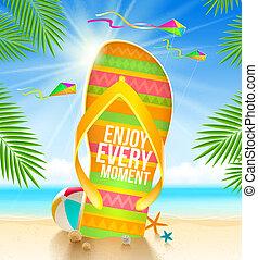 Summer vacation illustration - Multicolored huge flip-flop...