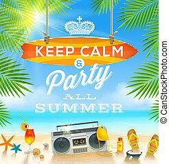 Summer vacation illustration - Summer holidays greeting...