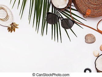 Feminine accessories on the white background, top view