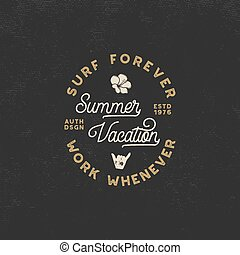 Summer vacation label. Surfing style emblem, logotype design. Flower, shaka sign and typography elements included. Use for apparel, t-shirts, print, posters. Stock vector isolated on dark background