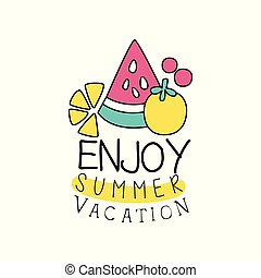 Summer vacation logo with abstract fruits. Kids drawing style. Colorful line emblem. Doodle element for holiday party poster, banner, sticker. Cartoon vector design