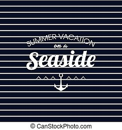 Summer vacation on a seaside striped poster