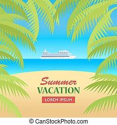 Summer Vacation on Seaside Concept Illustration