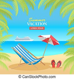 Summer Vacation on Tropical Beach Illustration