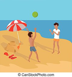 Summer Vacation on Tropical Beach Illustration