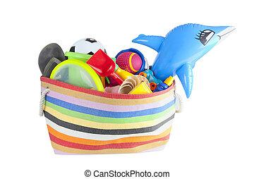 summer vacation or holiday beach bag - beach bag with ...