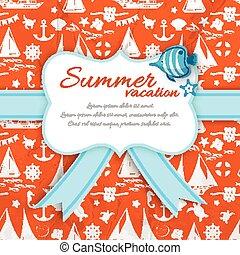 Summer Vacation Paper Sign At Orange Sea Pattern