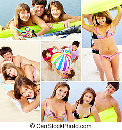 Summer vacation - Photo collection of happy teenage friends ...