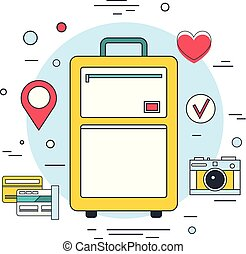 Summer vacation planning banner Travel Tourism concept Modern line icons