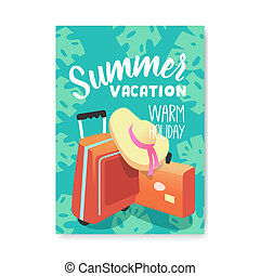 Summer Vacation Poster, Flyer, Invitation Template. Beach Holidays Banner with Travel Baggage. Vector illustration