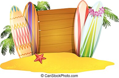 Summer vacation poster surfboards sand starfish and palm trees vector illustration