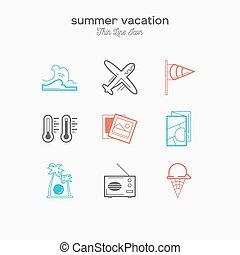 Summer vacation, recreation, tropical, tourism, thin line color icons set, vector illustration