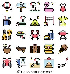 Summer vacation related icon set 2, filled style