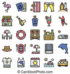 Summer vacation related icon set 3, filled style