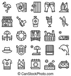 Summer vacation related icon set 3, line style