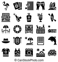 Summer vacation related icon set 3, solid style