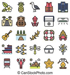 Summer vacation related icon set 5, filled style