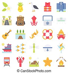 Summer vacation related icon set 5, flat style
