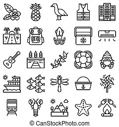 Summer vacation related icon set 5, line style