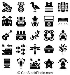 Summer vacation related icon set 5, solid style