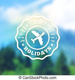 Summer vacation retro label. Vector badge on blurred background.