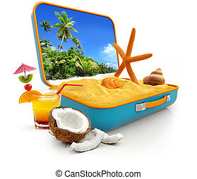 summer vacation - sand and shells in a suitcase isolated on ...