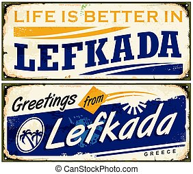 Summer vacation souvenir from Lefkada Greece. Retro travel...